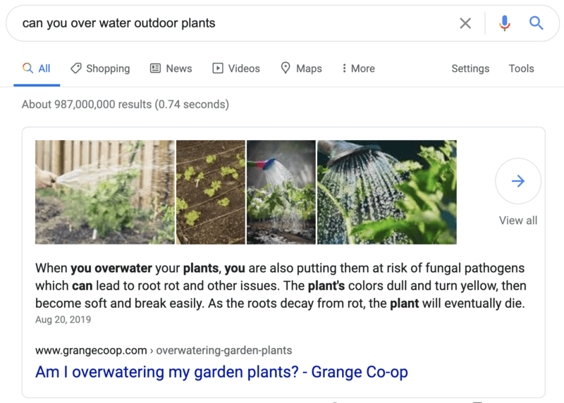 Example of quick answer search result - brightedge